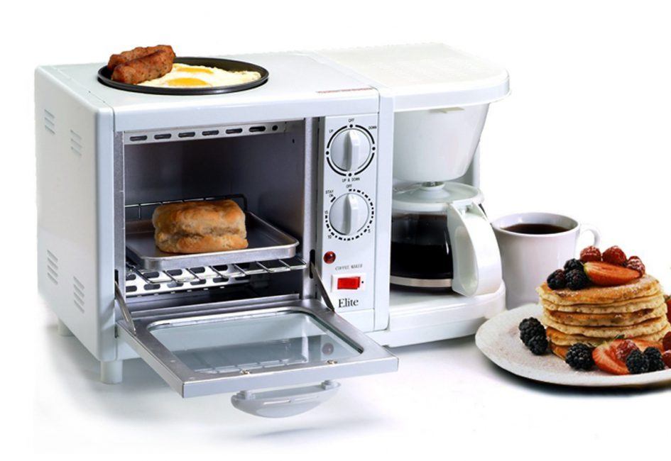 3 In 1 Breakfast Station Toaster Coffee Pot And