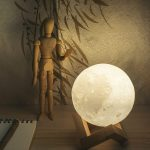 3D Moon Lamp - White Realistic Light on Base