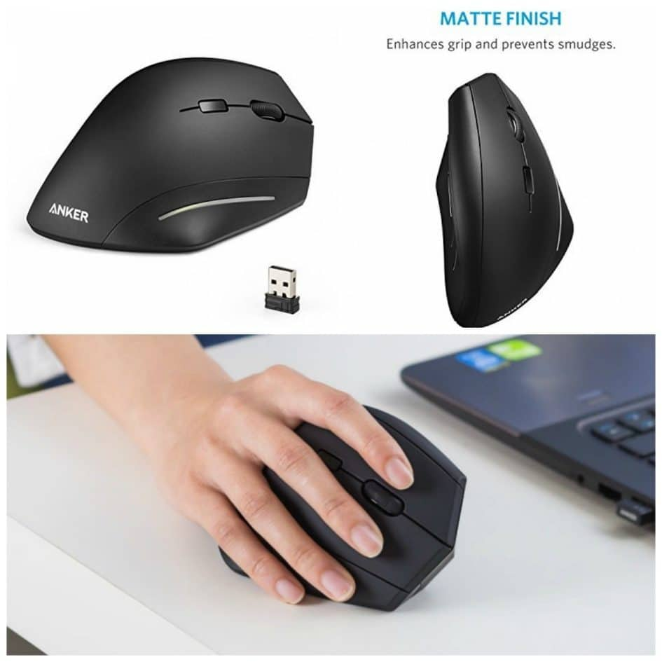 Anker Wireless Vertical Ergonomic Optical Mouse