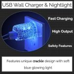 Blue Crackle Design USB Wall Charger and Nightlight - By Momen