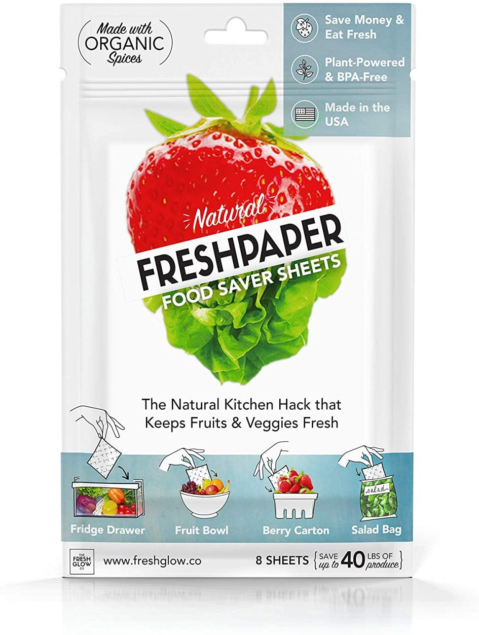 FreshPaper Food Saver Sheets for Produce and Fruit - 8 Pack