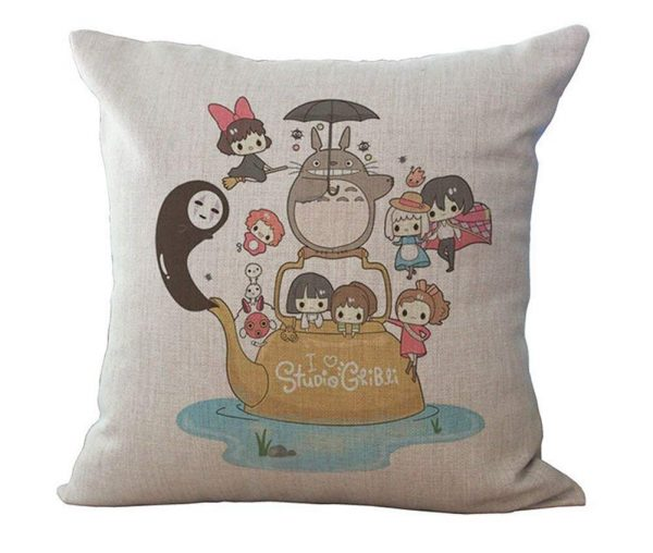 Ghibli Themed Throw Pillow Cover by HomeTaste - Featuring Totoro
