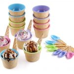 Ice Cream Themed Dessert Bowls and Spoons by Greenco - 12 Pack