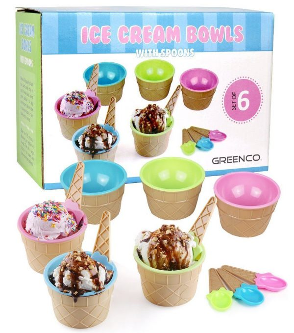 Ice Cream Themed Dessert Bowls and Spoons by Greenco - 6 Pack