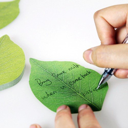 Leaf Sticky Notes - Writing a Note