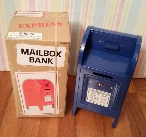 Metal Mailbox Piggy Bank by Rhode Island Novelty - Blue - With Retail Box