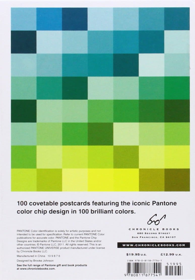 Pantone 100 Postcards Box Set - Back of Box