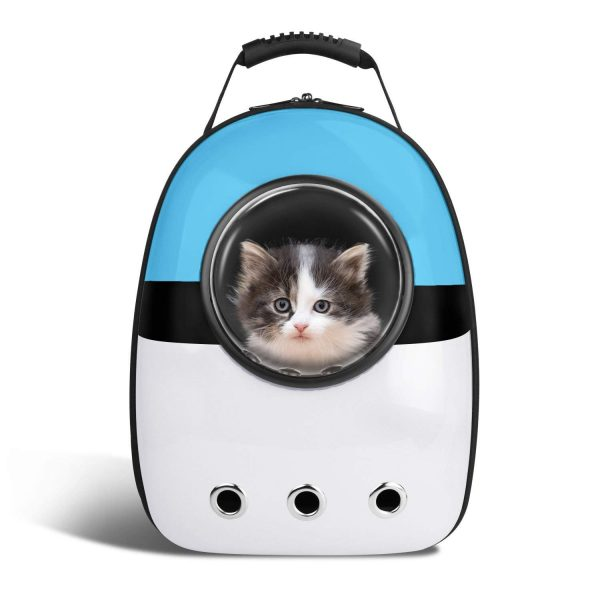 Pet Capsule Carrier Backpack - Blue and White Design - Cat