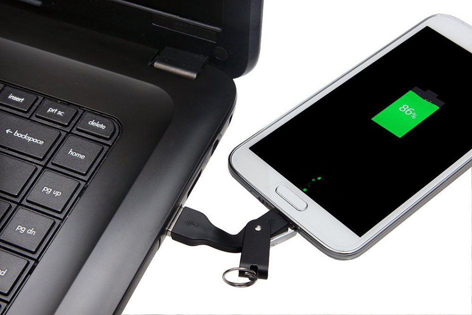 Portable Data Cable and Adapter Charging from Laptop