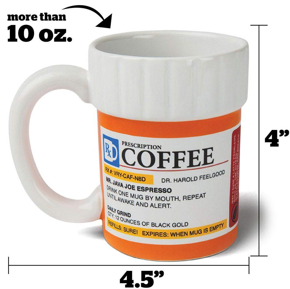 Prescription Coffee Mug by Big Mouth - Dimensions