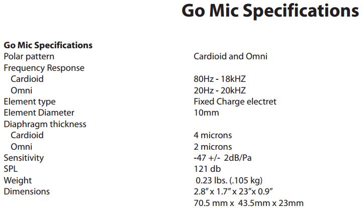 Samson Go Mic - Specifications