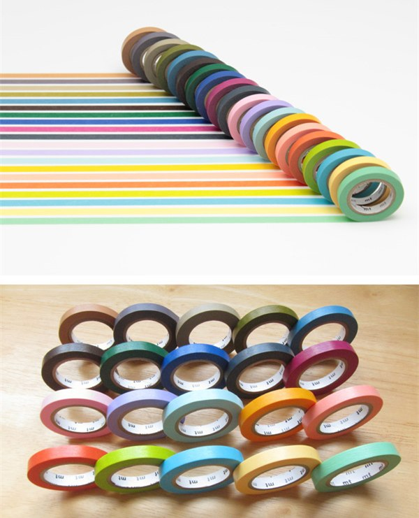 Set of 20 Colored Masking Tapes by MT Washi - Bright and Cool Colors