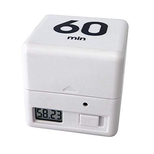 TimeCube Flip Timer - Side with LCD, Battery Compartment, and Switch