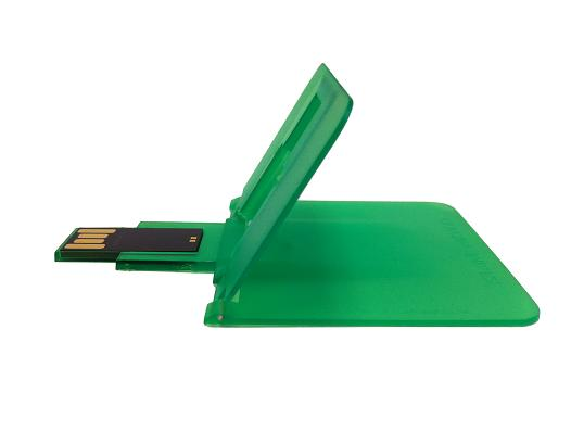 Green Credit Card USB Drive in open position