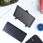 You can use the AmazonBasics Tablet Stand to use your tablet as a desktop!